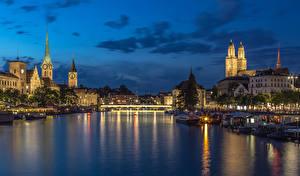 Обои Швейцария Цюрих Дома Речка Мосты Вечер Причалы