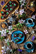 Фотографии Сервировка Кофе Пирожное Доски Чашка Зерна Ветвь