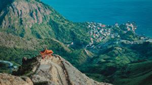 Обои для рабочего стола Тайвань Побережье Гора Здания Пагоды Taipei Природа