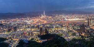 Фото Тайвань Здания Вечер Мегаполис Taipei