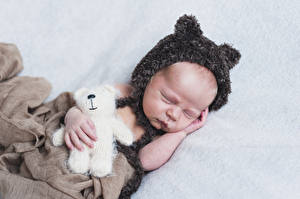 Фотография Плюшевый мишка Грудной ребёнок Спящий Шапки Ребёнок
