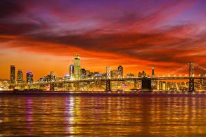 Фотографии Штаты Здания Река Мост Рассвет и закат Вечер Сан-Франциско Города