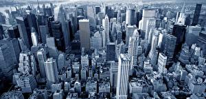 Фотография Штаты Здания Небоскребы Нью-Йорк Манхэттен Мегаполис