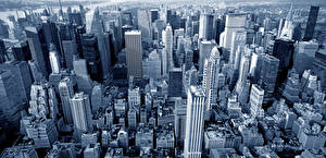 Фотография Штаты Здания Небоскребы Нью-Йорк Манхэттен Мегаполиса Города