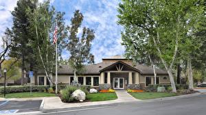 Фотографии США Здания Камни Калифорния Особняк Дизайн Уличные фонари Деревья Rancho Cucamonga