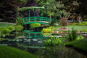Обои США Парки Пруд Мосты Gibbs Gardens Природа