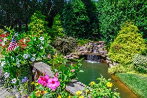 Картинка Штаты Парки Водопады Петунья Камень Дизайн Кусты Gibbs Gardens Природа
