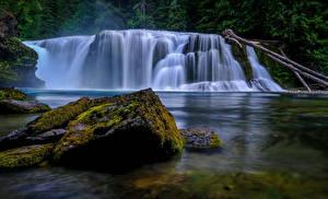 Фото США Реки Водопады Камни Мох Lewis River Falls Природа