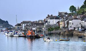 Фото Великобритания Дома Побережье Причалы Корабль Речные суда Речка Fowey Cornwall Города