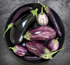 Обои Овощи Баклажан Тарелка Продукты питания
