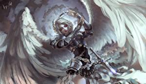 Фотографии Ангелы Воители Крылья Доспехи Фэнтези Девушки