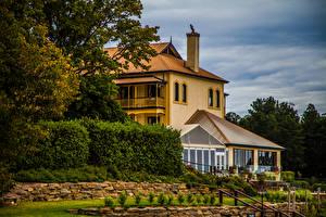 Фотография Австралия Здания Особняк Кусты Mount Lofty Botanic Garden город