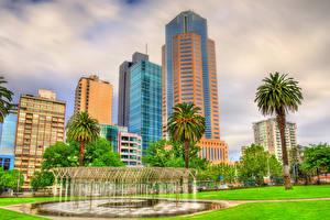 Обои Австралия Мельбурн Дома Небоскребы Фонтаны Пальмы