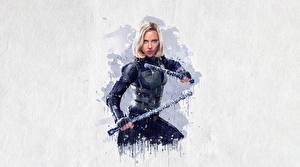 Фотографии Мстители: Война бесконечности Рисованные Scarlett Johansson Black Widow Фильмы Девушки Знаменитости