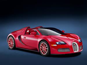 Обои BUGATTI Серый фон Красный 2011-12 Veyron Grand Sport Roadster  Red Edition Авто