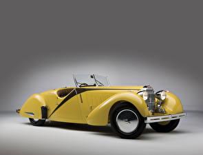 Обои BUGATTI Винтаж Желтый Кабриолет Металлик 1935 Type 57 Roadster by Worblaufen Авто
