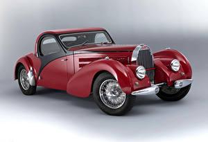 Фотография BUGATTI Винтаж Серый фон Красный 1938 Type 57 Atalante Авто