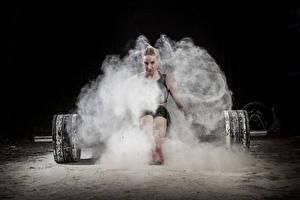 Картинка Штанга Физические упражнения Спорт Девушки
