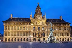 Обои Бельгия Здания Памятники Вечер Городская площадь Antwerpen