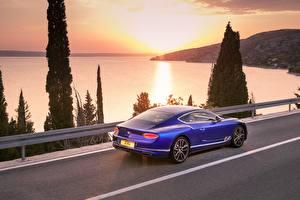 Обои Бентли Синий Купе Continental GT Blue 2017 Машины