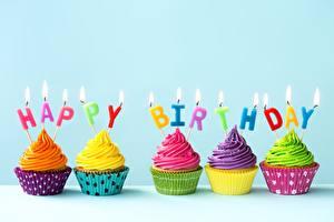 Фото День рождения Капкейк кекс Свечи Еда