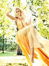 Фотография Блондинка Платье Сидя Качелях Девушки