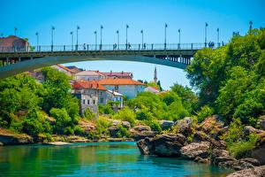 Фотография Босния и Герцеговина Дома Реки Мосты Камень Mostar Города