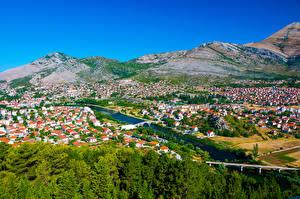 Фотографии Босния и Герцеговина Дома Речка Холмы Trebinje Города
