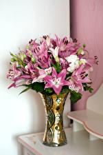 Фотографии Букет Лилии Розы Ваза цветок