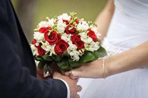 Фотографии Букеты Розы Свадьба Руки