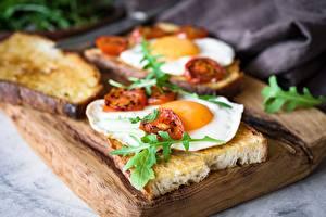 Картинка Хлеб Бутерброды Яичница Завтрак Пища