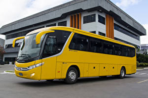 Картинки Автобус Желтый 2017 Marcopolo Viaggio 900 Scania K410