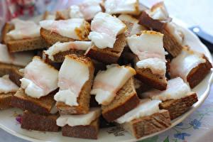 Фотографии Бутерброды Хлеб Сало