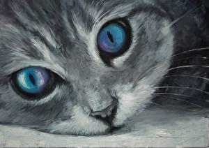 Фото Кошка Рисованные Глаза Взгляд Морда Животные