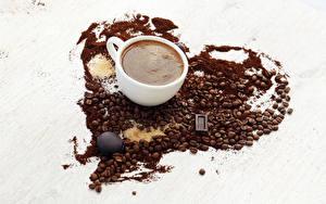 Фотография Кофе Шоколад Чашка Зерна Сердечко Еда