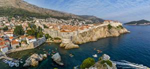 Картинки Хорватия Берег Здания Пирсы Утес Dubrovnik Города