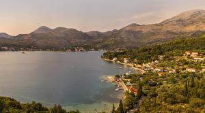 Картинки Хорватия Здания Берег Залив Dubrovnik Города