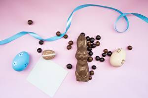 Фото Пасха Кролики Шоколад Яйца Пища