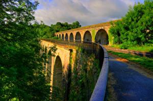 Картинка Англия Мосты Дороги Ограда Chirk Bank Shropshire Природа