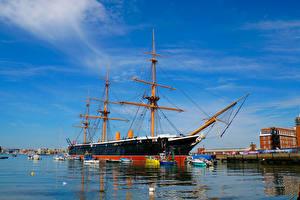 Картинки Англия Пирсы Корабли Парусные Portsea Portsmouth Города