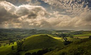 Фотография Англия Пейзаж Небо Поля Холмов Облака Earl Sterndale Природа