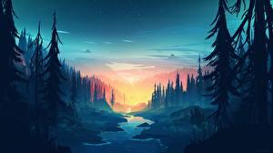 Обои Вечер Леса Горы Ручей Деревья Firewatch, Campo Santo Игры Природа