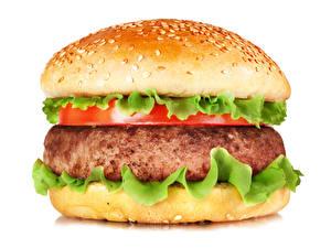 Фото Фастфуд Гамбургер Булочки Мясные продукты Белым фоном Еда