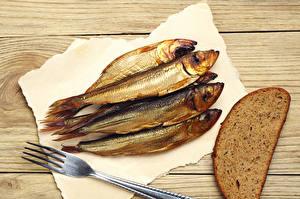Обои Рыба Хлеб Доски Вилка столовая