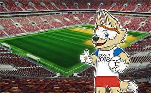 Картинка Футбол Стадион Mascotte FIFA World Cup 2018 Luzhniki Stadium
