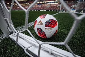 Картинки Футбол Мяч Газон Russia FIFA World Cup 2018, Adidas Telstar 18 Спорт