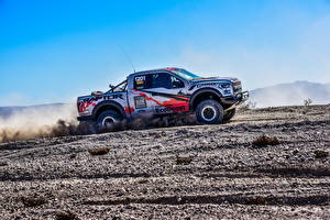 Картинка Форд Тюнинг Пикап кузов Сбоку 2017 F-150 Raptor Race Truck машины