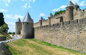 Фото Франция Крепость Дороги Стена Carcassonne Города