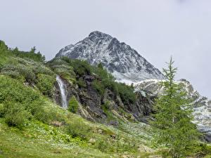 Фото Франция Горы Водопады Альпы Berge Природа