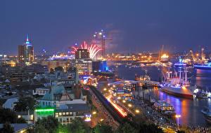 Фотография Германия Гамбург Здания Пирсы Корабли Вечер Залив Города